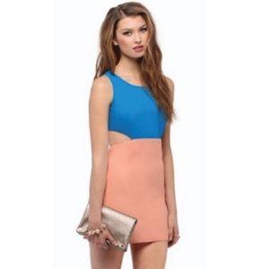 Tobi Blue Orange Colorblock Cut Out Dress